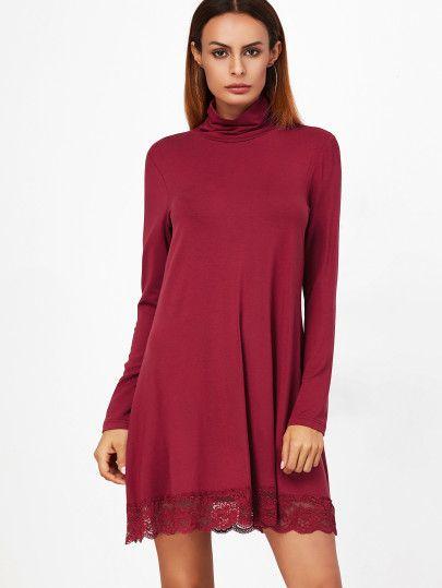 Burgundy Cowl Neck Lace Trim Shift Dress