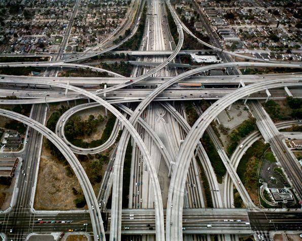 Their Highways....  Highway #1, Intersection 105 & 110, Los Angeles / Edward Burtynsky