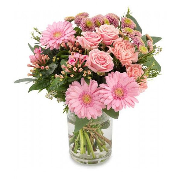A perfectly pink #Rose, #Germini, Bouvardia, #Chrysanthemum and #Carnation aqua pack #bouquet with a hint of Rosemary. Our flowers may arrive unopened but the buds will come into bloom within a day or two and the recipient will be able to enjoy the #flowers.
