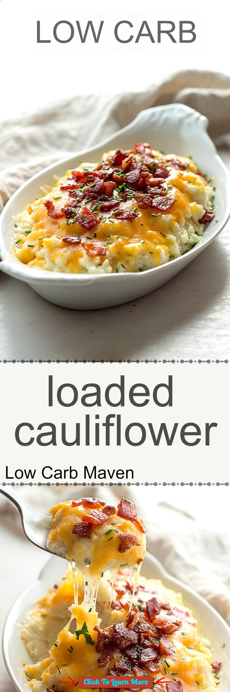 #FastestWayToLoseWeight by EATING, Click to learn more, Low carb loaded cauliflower with sour cream, chives, cheddar cheese and bacon. Keto. , #HealthyRecipes, #FitnessRecipes, #BurnFatRecipes, #WeightLossRecipes, #WeightLossDiets