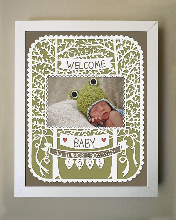Welcome Baby - Papercut Baby Frame - 8x10 Printed Photo Mat - Available in green, pink, or blue. via SarahTrumbauer on Etsy.