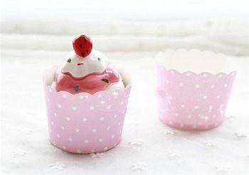 Одноразовые маленький розовый точка бумажные формы для кексов кружки свадебный день рождения ну вечеринку кекс лайнеры довольно украшения