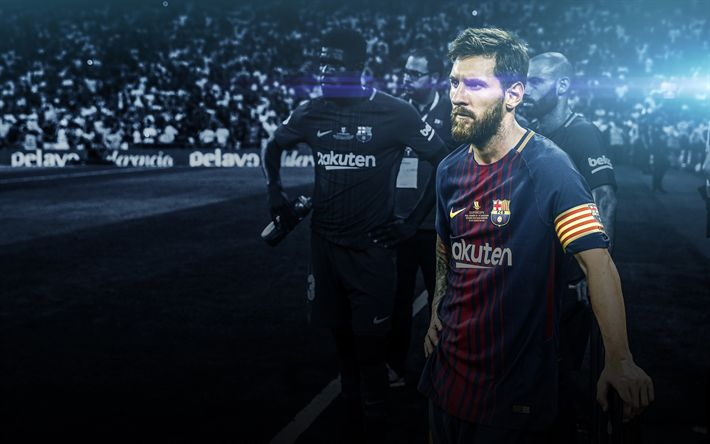 Download wallpapers Lionel Messi, 4k, FCB, football stars, Barca, Messi, FC Barcelona, footballers, art, soccer, Leo Messi