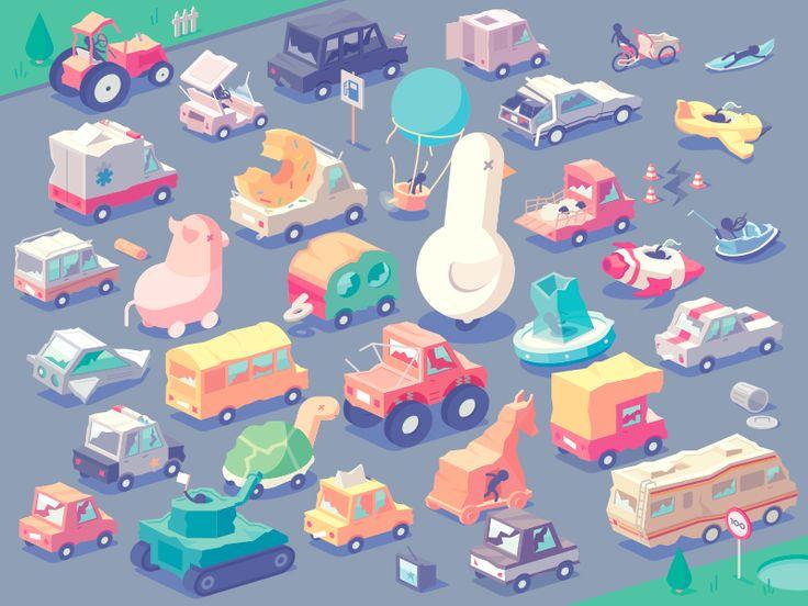 Stickman Rush - Vehicles (Broken version) by Guillaume Kurkdjian #Design Popular #Dribbble #shots
