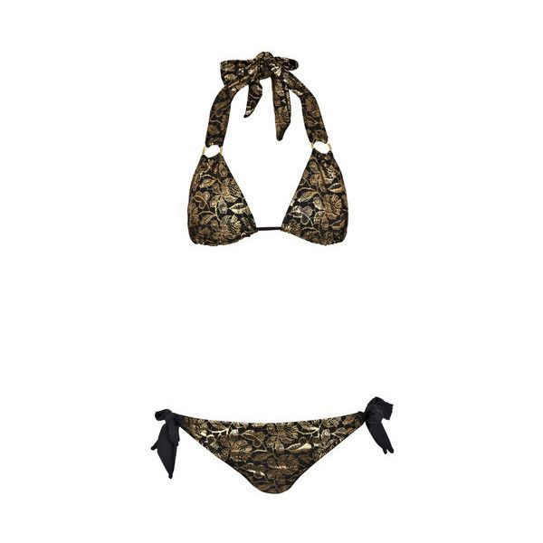 Pistol Panties Charlotte Bikini (€190) ❤ liked on Polyvore featuring swimwear, bikinis, gold, triangle bikini swimwear, cutout bikini bottom, cut out bikini, floral bikini bottoms and cutout bikini