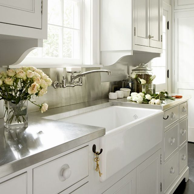 Rohl Shaws Original Fireclay Sink RC3618 Traditional Farmhouse sink w/ modern stainless countertop