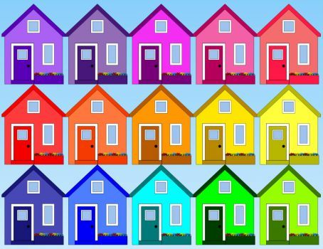 Colorful little houses jigsaw puzzle for kids - (30 pieces)
