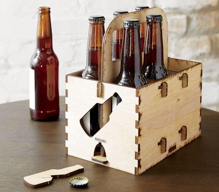 Wood 6 Pack Beverage Holder Idea Central Cb2 Blog Beer Wood Beer Holders Unique Candle Holders