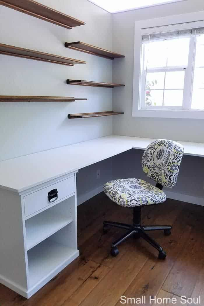 Diy L Shaped Desk One Room Challenge Week 4 Girl Just Diy In 2020 Diy Office Desk L Shaped Desk Desk Layout