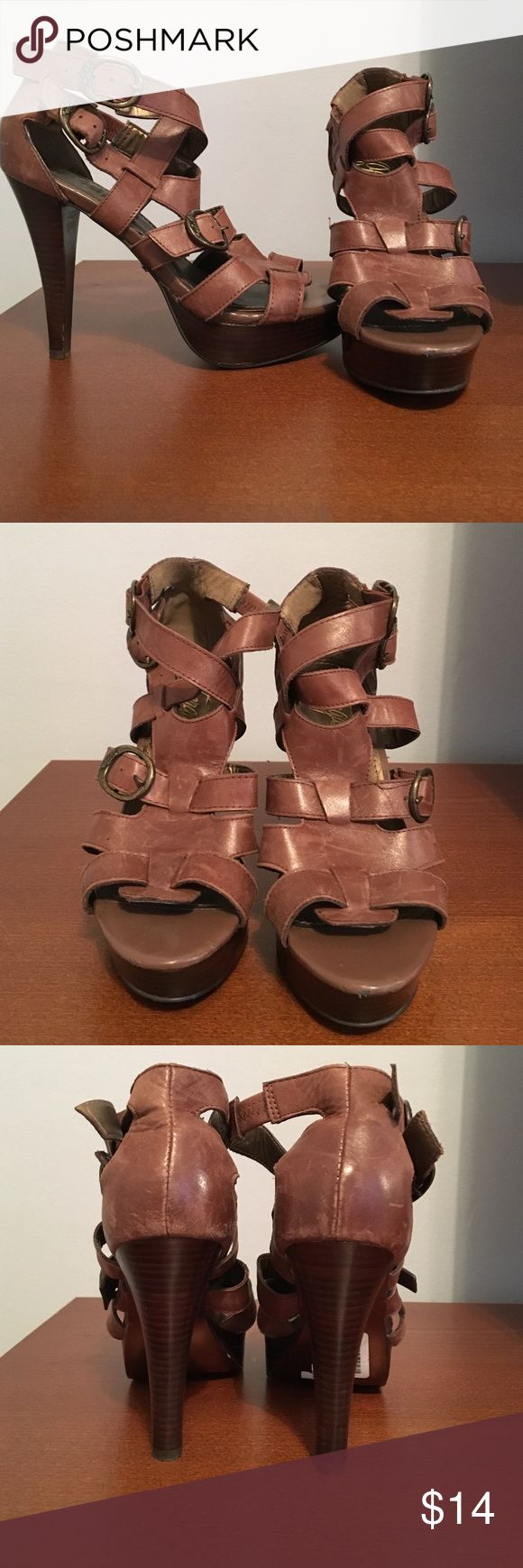 Brown Fergie Heels Brown leather heels. Appox. 4 inches. Fergie Shoes Platforms