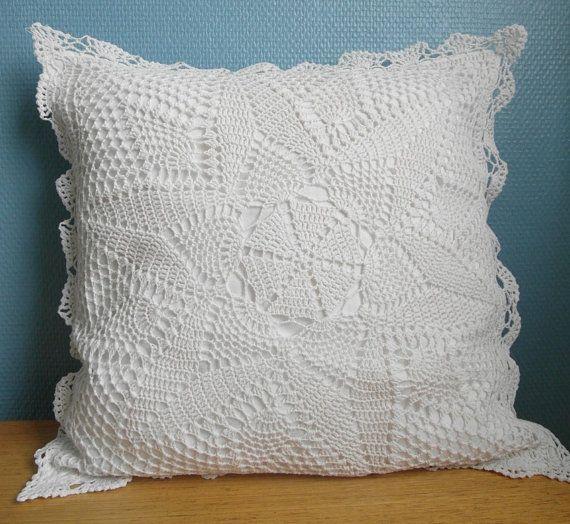 White crochet cushion cover