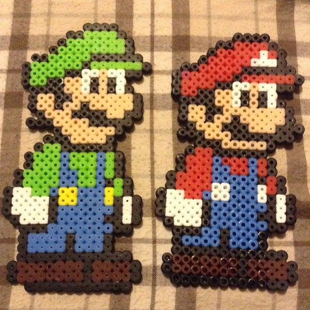 Luigi And Mario Perler Beads By Melita135 Beads Super