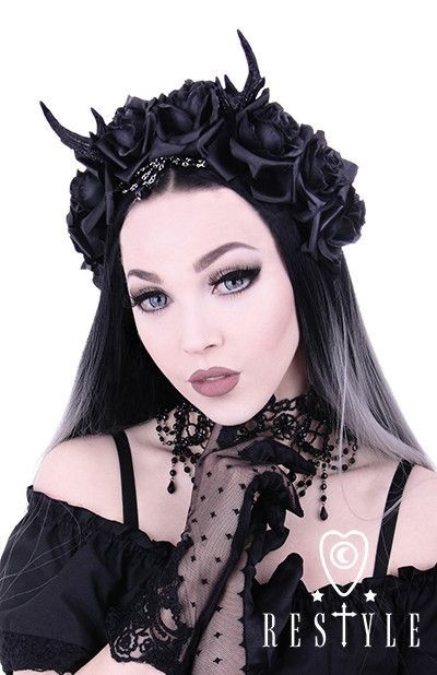 Restyle - Antlers, Roses & Beads headband, Gothic Wreath, romatic headdwear