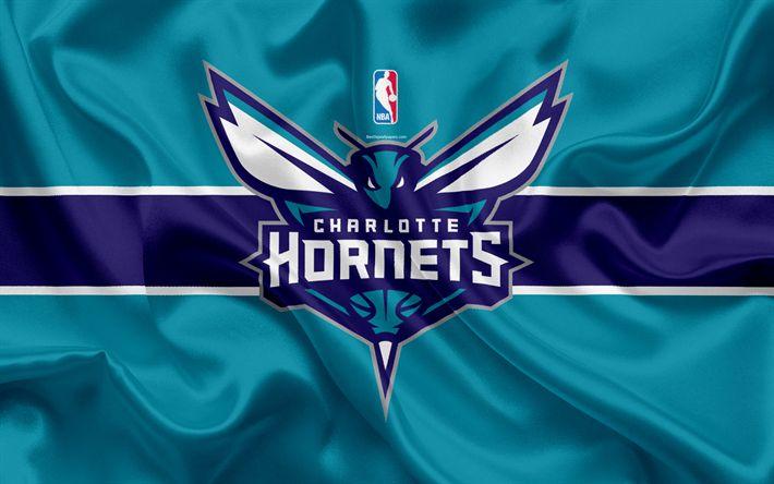 Download wallpapers Charlotte Hornets, basketball club, NBA, emblem, logo, USA, National Basketball Association, silk flag, basketball, Charlotte, North Carolina, US basketball league, South East Division