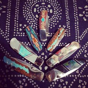 Inlaid pocket knives