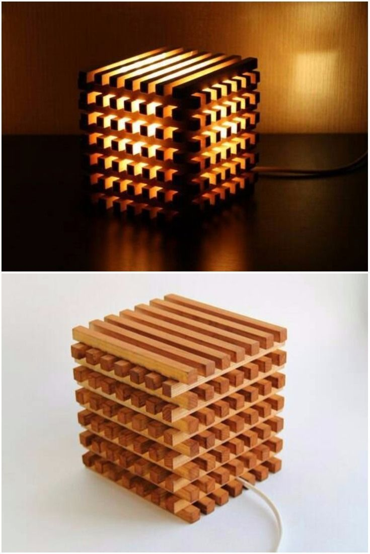 Wooden Bedside Light Cube –
