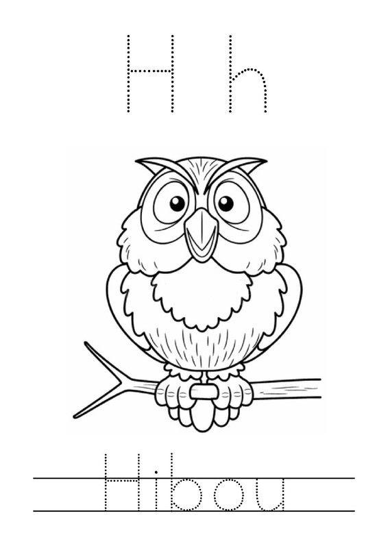 Fiche d'activité de graphisme niveau maternelle : H comme Hibou (Script)