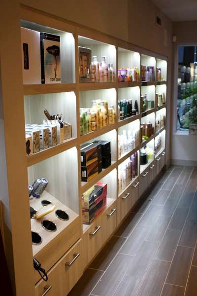 Mosaic Salon, Toronto ON #shelving #salon #interior