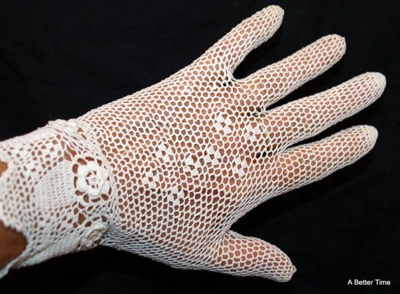 Victorian crocheted gloves creamy white  vintage by ABetterTime, $15.00