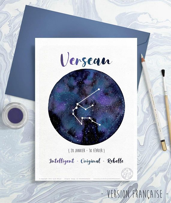 Astrology Card – Zodiac Indicators – Aquarius, Horoscope, Planet drawing, Constellation Illustration, Watercolor sky, Present concept, February month