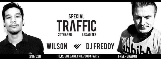 Traffic à Paris le 25 avril 2015 - Actu-Gay.eu Pour ce spécial event, la soirée Traffic offre un line–up inédit et s'ouvre à d'autres horizons. DJ Freddy partagera l'affiche avec Wilson (organisateur des soirées Traffic), dans le même esprit des sets deep house et sensoriels qui ont marqué sa carrière.  DJ Freddy On ne présente plus DJ Freddy ! Résident au Queen (94/96) puis aux Bains Douches, il sera ensuite aux commandes des célèbres soirées « Scream » à l'Elysée Montmartre (98/2003). Il…
