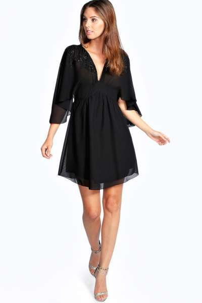 Amelia Embellished Woven Dress at boohoo.com