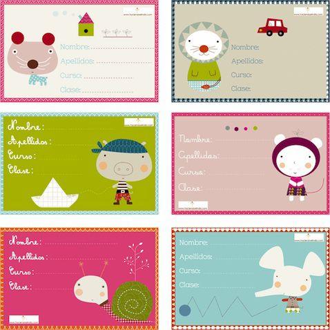 Etiquetas escolares para libros y cuadernos que puedes imprimir gratis de Haciendo el Indio.