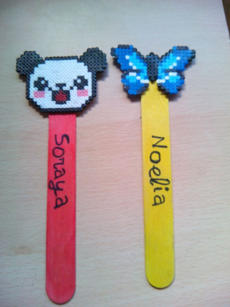 Marcapáginas oso panda y mariposa. Hama beads mini.