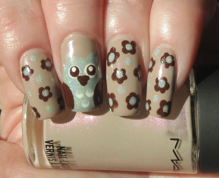 M·A·C Cosmetics Endless Night Nail Lacquer with Owl Nail Art #MacCosmetics  #nailart #EndlessNight #EnchantedPolish #ALittleFishyToldMe #DatingTheDrummer #opi #SephoraByOpi #owls #flowers #nails #NailPolish #NailLacquer