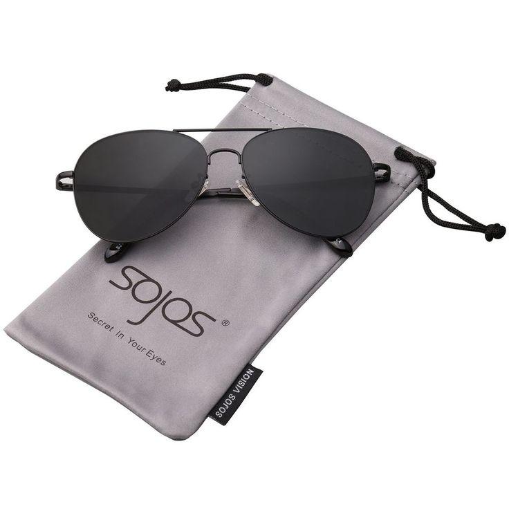 SojoS Classic Aviator Metal Frame Mirror Lens Sunglasses with Spring Hinges SJ10 #SojoS #mens