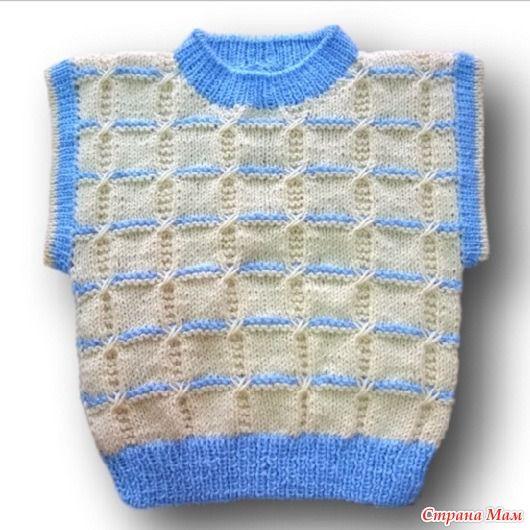 Двухцветный жилет мальчику спицами - Вязание для детей - Страна Мам