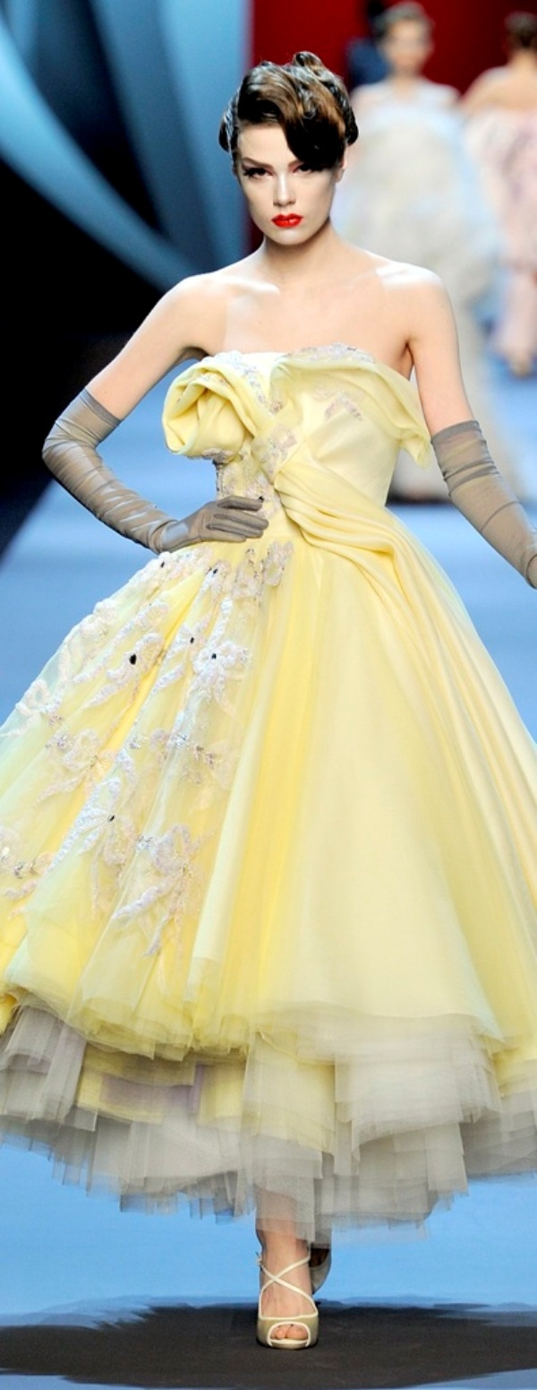 Christian Dior yellow couture gown / Beauty and the Beast inspired Fashion