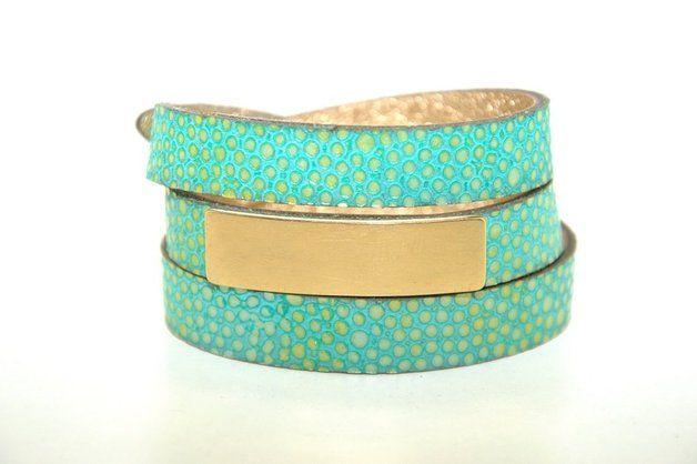 Basic Turquoise with Gold Bracelet - Joccos-Design - Bransoletki skórzane