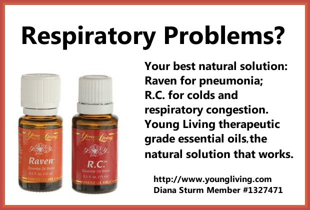 Raven and R.C. Essential Oils shorten respiratory illnesses. Just one to two drops a day will shorten a cold or congestion. No more weeks of coughing. Cost on 3/9/2013 Raven: retail $45.72; wholesale $34.75; R.C.: Retail $28.62; wholesale $21.75. Both are 15 ml bottles containing approximately 250 drops. Call me to find out how you can get wholesale pricing (251) 219-4574; or Order at: www.youngliving.com Member #1327471 Diana Sturm