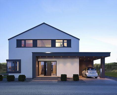 Concept-M 172 : composée de 5.5 pièces, cette villa en ossature bois préfabriqué allie esthétique et pratique. Nombreuses options : carport, cave, etc.