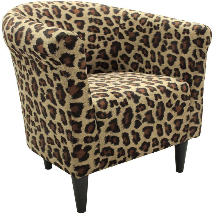 Mcm Bucket Accent Chair: Accent Chair Safari Leopard Print Bucket Living Bedroom