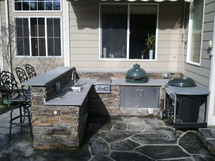 diy outdoor kitchen with green egg and grill - Yahoo Image Search Results