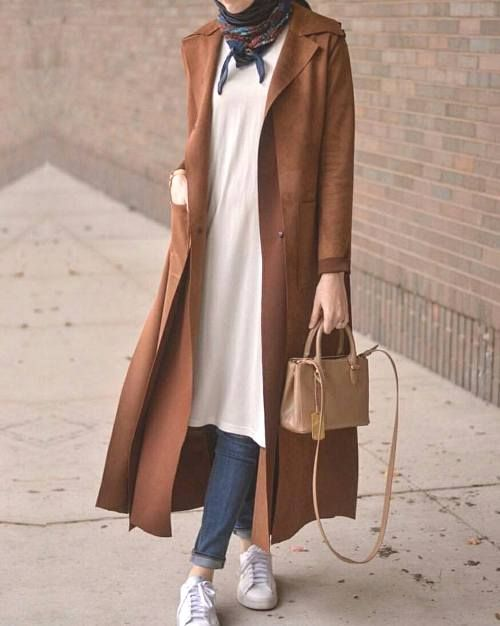 long camel coat hijab-New winter hijab fashion looks – Just Trendy Girls