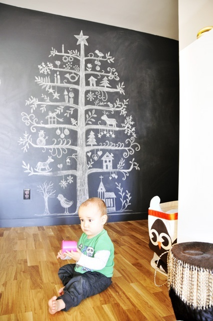 Love the Scandanavian Christmas tree art in the background!