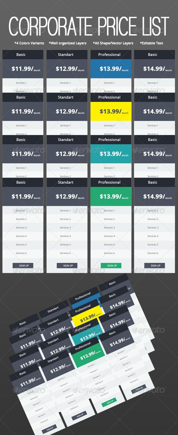 Corporate Web Price List Set   #GraphicRiver        Corporate Web Price List Set     Simple way to show your plans to the world.    4 Colors Variants    Well organized Layers   All Shape/Vector Layers    Editable Text   Free Fonts  1. .fontsquirrel /fonts/open-sans     Created: 25August13 GraphicsFilesIncluded: PhotoshopPSD HighResolution: Yes Layered: Yes MinimumAdobeCSVersion: CS3 Tags: blue #business #clean #colorful #colors #column #dark #features #green #hosting #light #list #modern…