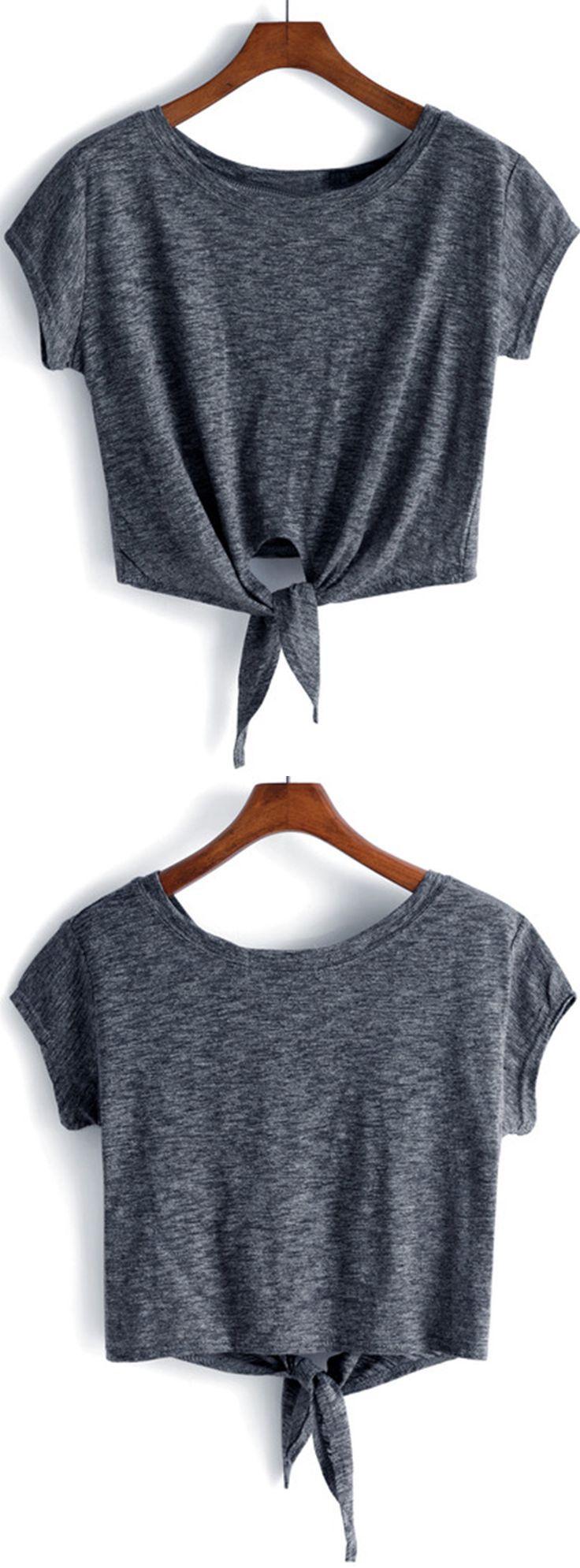 Dark Grey Knotted Crop T-Shirt