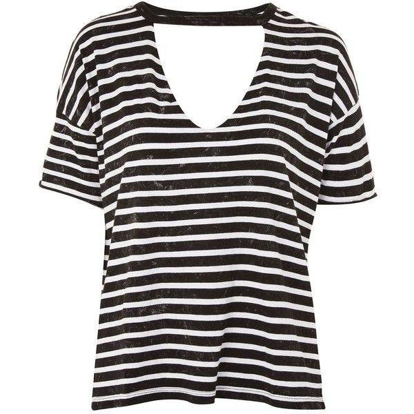 TopShop Petite Choker Acid Stripe T-Shirt (1.095 UYU) ❤ liked on Polyvore featuring tops, t-shirts, charcoal, short sleeve t shirt, striped t shirt, stripe t shirt, deep v neck tee and petite t shirts
