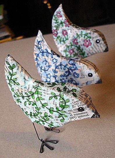 Modge Podge Paper Birds W/Wire Feet
