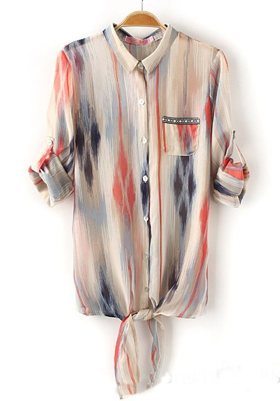 Multicolor Striped Print Irregular V-neck Synthetic Fiber Blouse