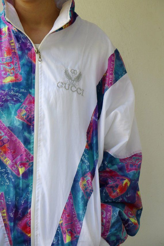 bd475a711bd Vintage Gucci Windbreaker Jacket 80s Gucci Track Jacket