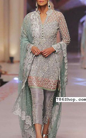 Grey Crinkle Chiffon Suit | Buy Pakistani Fashion Dresses and Clothing Online in USA | www.786shop.com