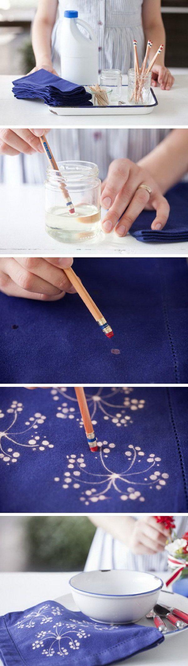 Fabric Bleach Art Table Napkins.