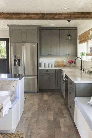 Country Kitchen with Exposed beam, Subway Tile, flush light, Armstrong Flooring - Woodland Reclaim - Old Original Barn Gray
