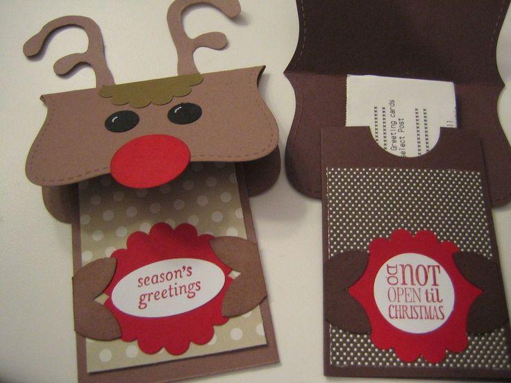 Stampin Up Card Handmade Christmas Reindeer Gift Card Holder On .