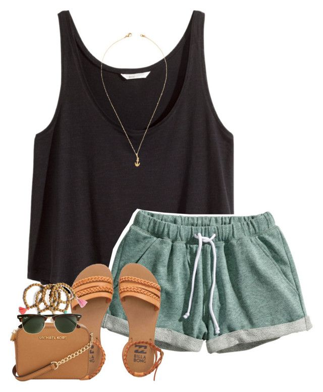 """""""like this set to be on my taglist ♡"""" by daydreammmm ❤ liked on Polyvore featuring H&M, Jeweliq, Billabong, Michael Kors and J.Crew"""